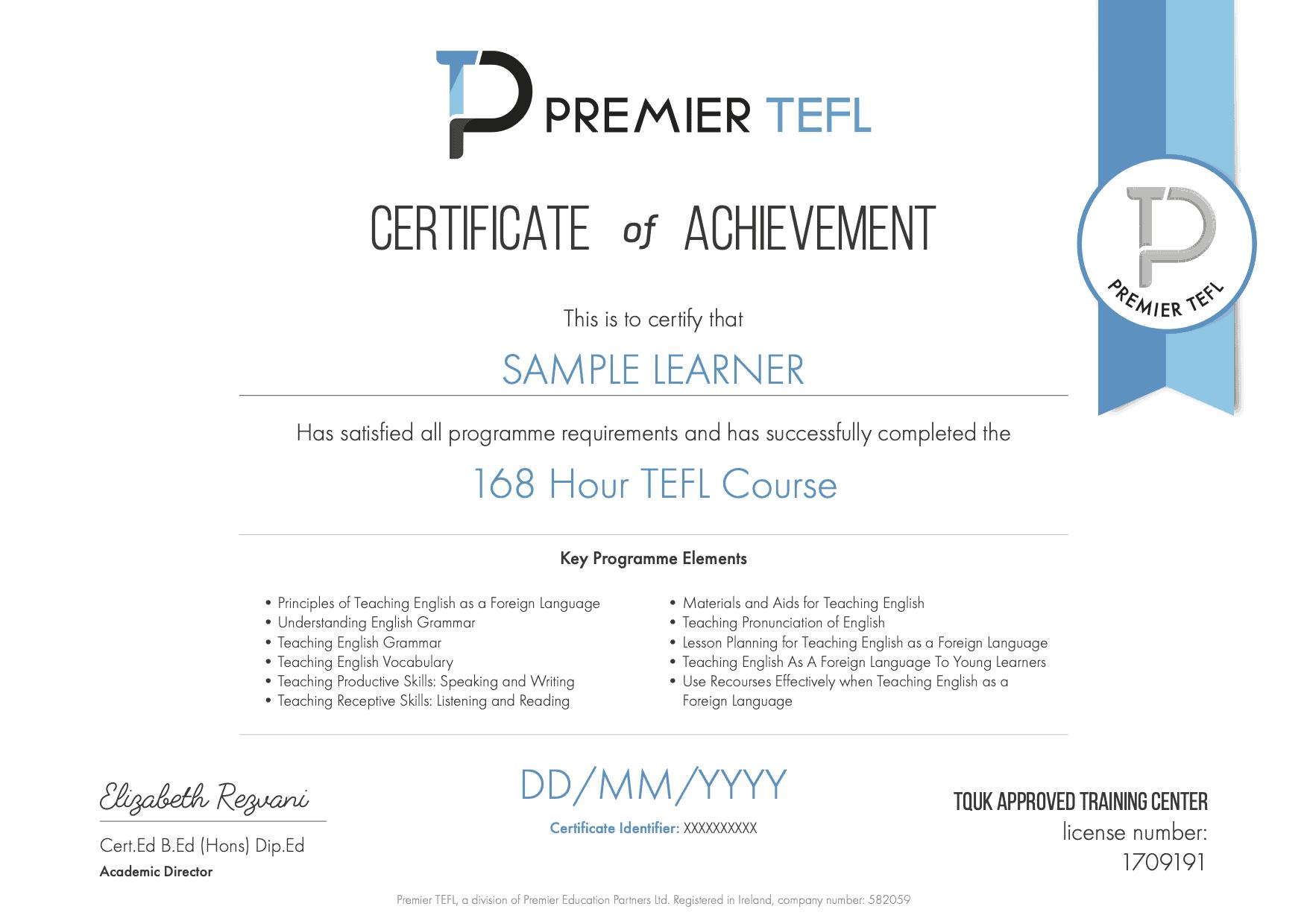 Premier TEFL 168 Hour TEFL Course Certificate Sample