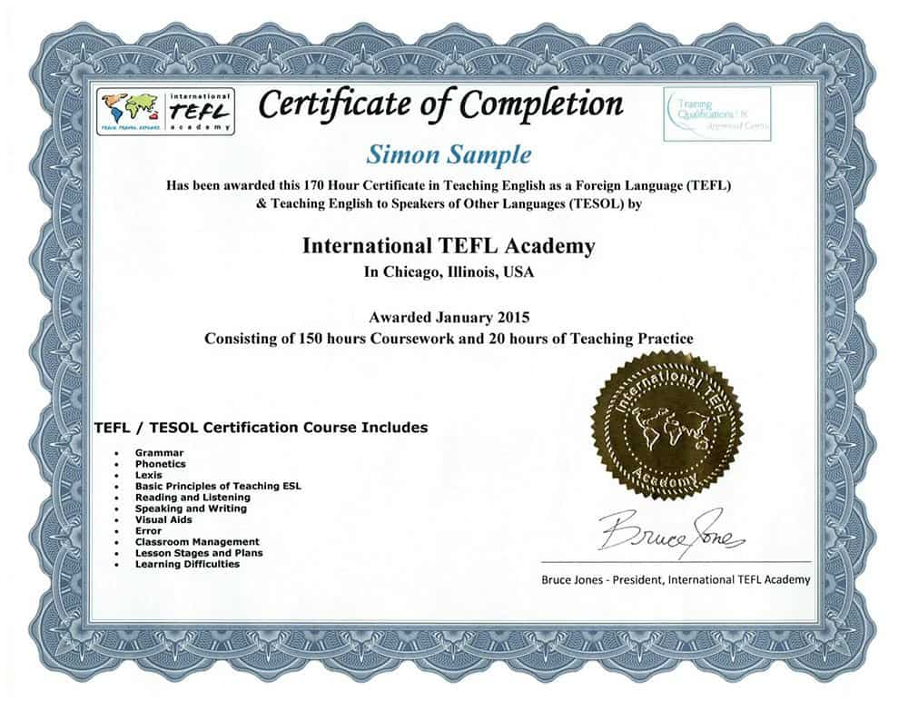 International Tefl Academy Sample Tefl Certificate