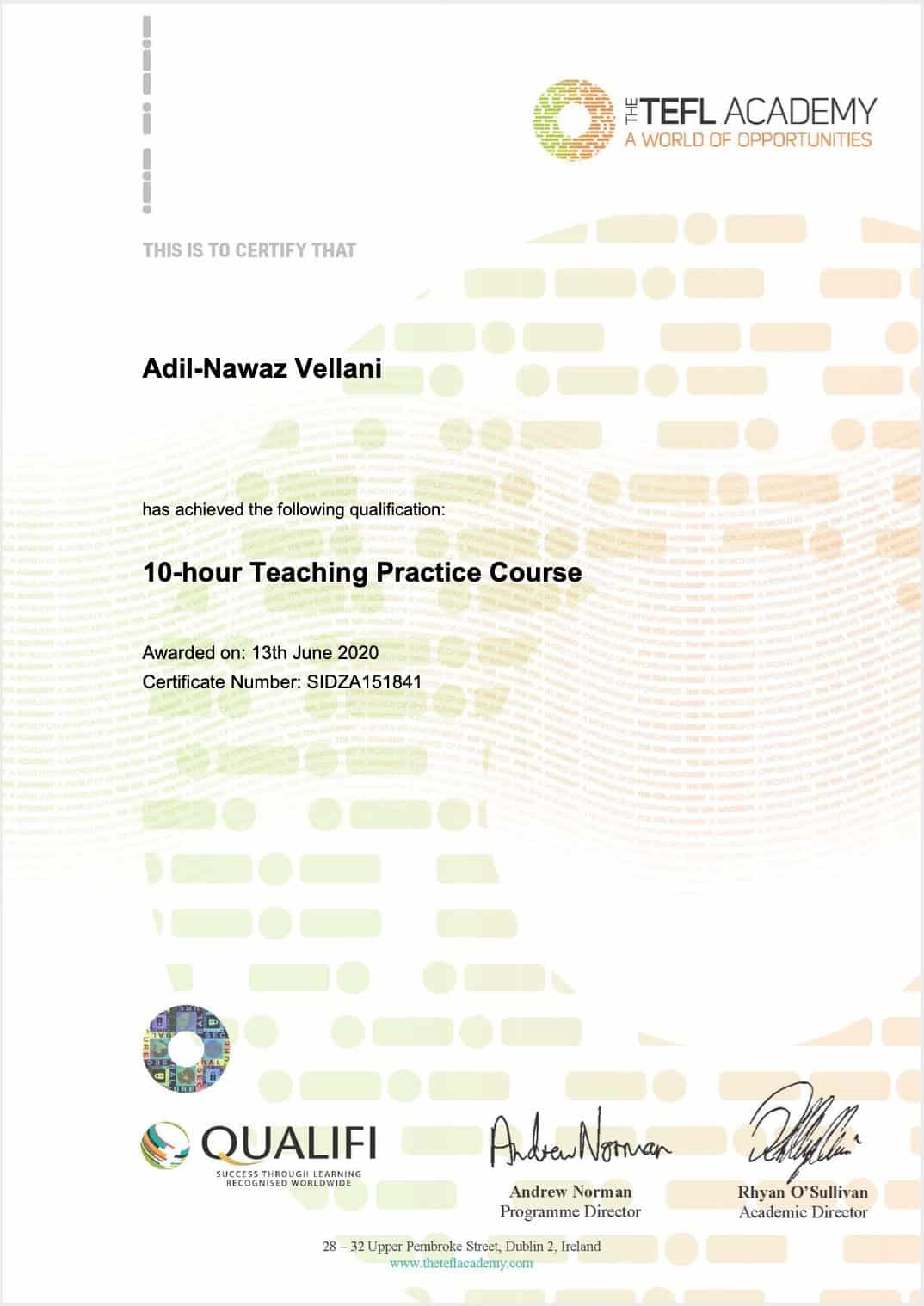 The Tefl Academy 10 Hour Teaching Practice