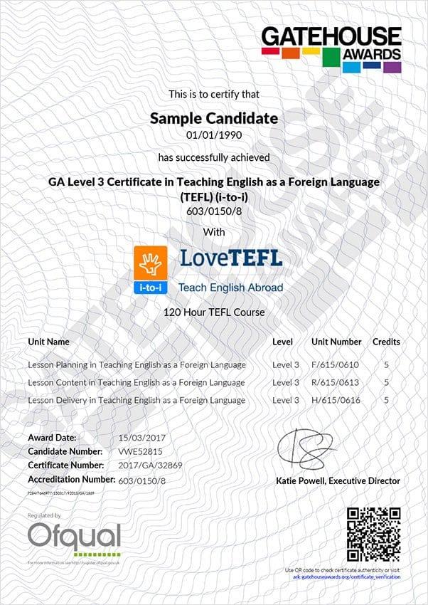 I To I Sample Ofqual Tefl Certification